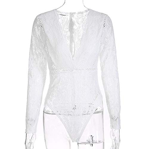Dentelle Creux Chemisier Body Blanc V Fathoit Mode Femme Combinaison Chic Neck Femme Manches Florale Combinaison Longues SFnwB7nvq