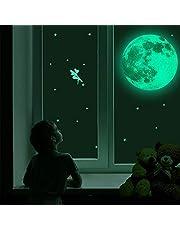 Leuchtender Wandsticker, yotame 30cm Mond und Sterne Sticker im Dunklen Aufkleber Leuchtender Aufkleber für Schlafzimmer Kinderzimmer Home Dekorative Leuchtaufkleber Fluoreszierend Wandsticker