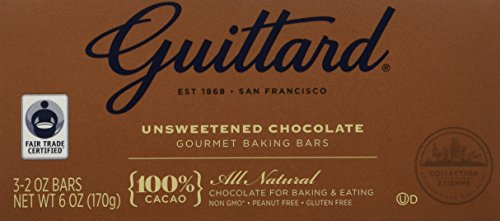 Guittard, 100% Unsweetened Chocolate Baking Bar, 6oz Package (Pack of 4)