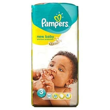Del tamaño de la Pampers New bebé pañales de 3 esencial de madera de 50 unidades