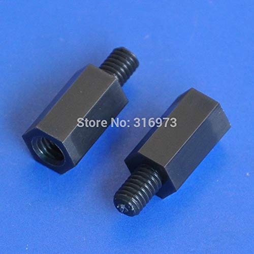Nut & Bolt - (1000 pcs/lot) 12mm/0.47'' Black Nylon M4 Threaded Hex Male-Female Standoff Spacer.