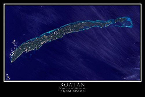 Roat?n Bay Islands Honduras From Space Satellite Poster Map L