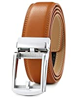 Men's Belt Ratchet Dress Belt with Automatic Buckle Brown/Black-Trim to Fit-35mm wide-200-125-TAN