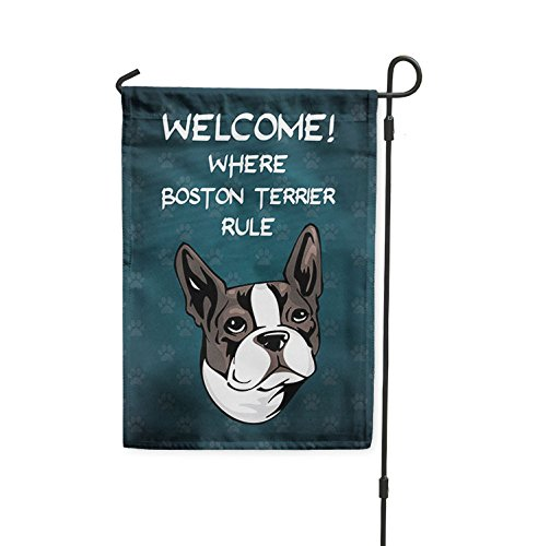 Fastasticdeals Welcome Where Boston Terrier Dog Rule Yard Patio House Banner Garden Flag Stake Flag Only 10 1/2