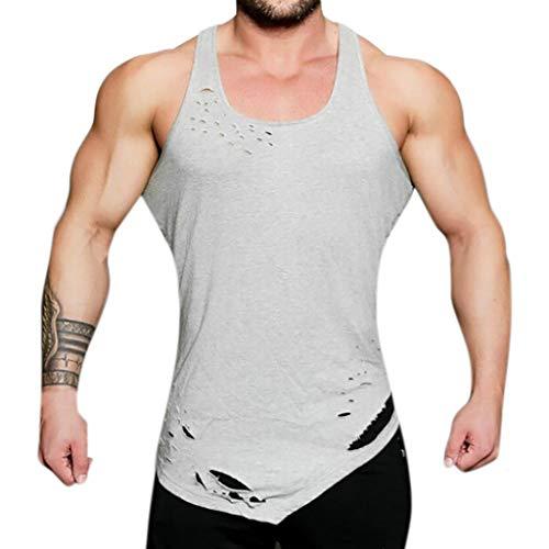 956cb9365e8e9 Men's Workout Tank Tops Summer Sleeveless T Shirt Cuekondy 2019 Fashion  Casual Hole Irregular Hem Yoga