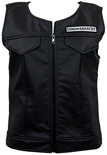 Sons of Anarchy Womens Patch Top Rocker Faux Leather Vest Cut