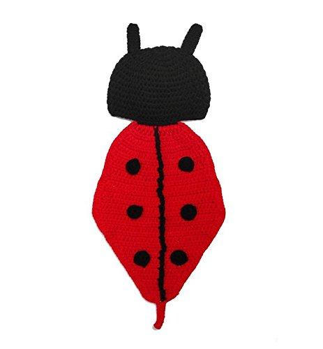 Picture Of A Ladybug Costume (WEIYI New-born Crochet Knitted Baby Photography Photo Outfit Ladybug Costume Set)