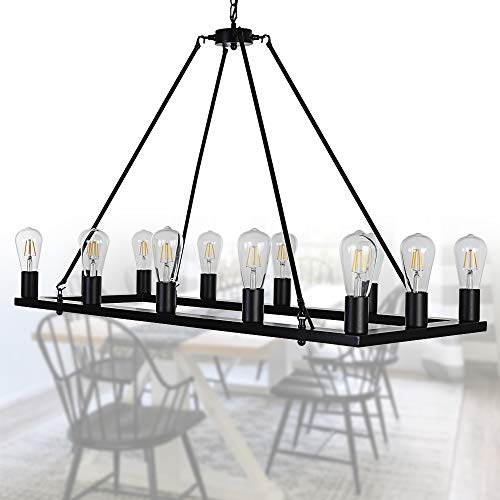 OSAIRUOS Rectangle Vintage Chandelier Kitchen Island Rustic Pendant Wagon W Farmhouse Antique Industrial Chandeliers Ceiling Light Fixture For Dining Living Room Cafe Hallways Entryway 12 Lights W39