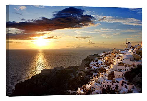 LightFairy Wall Art for Living Room - Glow in The Dark Canvas Painting - Stretched and Framed Giclee Print - Greece Santorini Thira Oia Aegean - Wall Decorations for Bedroom - Greece Art Framed Oia Santorini