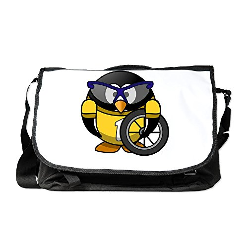 Truly Teague Laptop Notebook Messenger Bag Little Round Penguin - Cyclist in Yellow Jersey