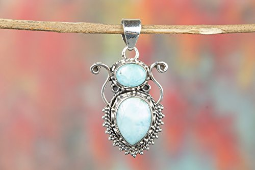 Stone Vintage Genuine (Larimar Pendant, Birthday Gift, Bridal Gift, Vintage Pendant, Genuine Larimar & Silver Necklace, Stone of Atlantis, Rare Stone, Genuine Dominican Larimar Jewelry, Blue Larimar Pendant, Blue Pectolite)