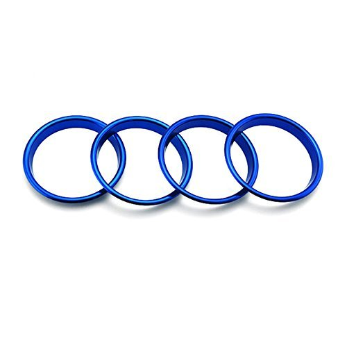 SP-Auto 4pcs Blue Front Dashboard Console Air Outlet Vent Cover Ring Trim Guard Cover Frame For Audi A3 8V 2014-2015