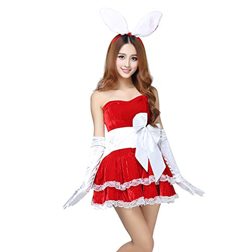 GUTTEAR Skirt + Rabbit Ears + Gloves + Belt + Invisible Shoulder Strap Women's Winter Christmas Party Cosplay Rabbit Dancer Mini Dress Set