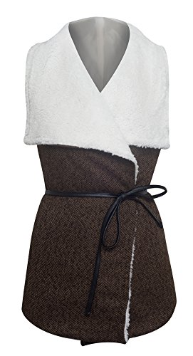 Women's Draped Collar Faux Fur Lining Belted Tweed (Belted Tweed Belt)