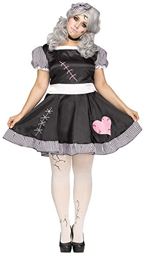 Fun World Women's Plus Size Broken Doll Costume, Multi, XX-Large (Broken Doll Halloween Costumes)