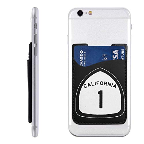 California State Highway Route 1 Sign Silicone 3M Adhesive Stick-on ID Credit Card Wallet Phone Case Pouch Sleeve Pocket