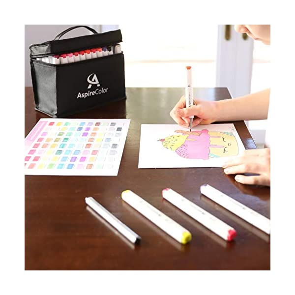 Alcohol-Markers-for-Adults-Teens-AspireColor-80-Color-Dual-Tip-Sketch-Markers-with-Alcohol-Based-Ink-Bonus-Fineliner-Pen-Colorless-Blender-Carry-Case-Included–Art-Markers-for-Artists-Drawing