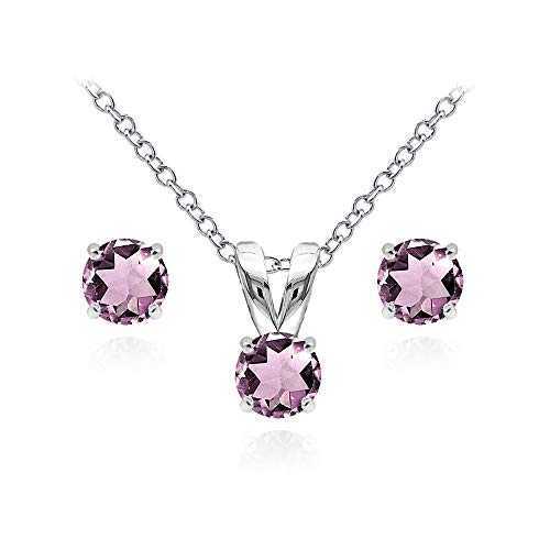 Sterling Silver Simulated Alexandrite 5mm Round Solitaire Pendant Necklace and Stud Earrings Set for Women