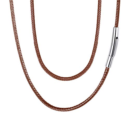 FaithHeart Braided Leather Cord Necklace with Stainless Steel Durable Snap Clasp, 2mm Men Women DIY Woven Wax Rope Chain for Pendant, 18 Inches Brown