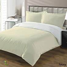 Vedanta Home Collection Hotel Quality 400-Thread-Count Egyptian Cotton Queen Size 3pc Reversible Duvet Set Ivory,White Solid