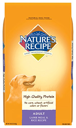 - Nature's Recipe Lamb Meal & Rice Recipe Dry Dog Food for Adult Dogs, 30 Pounds