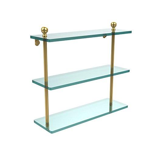 Brass Allied Shelf Polished - Allied Brass MA-5/16-PB Mambo Collection 16 Inch Triple Tiered Glass Shelf Polished Brass