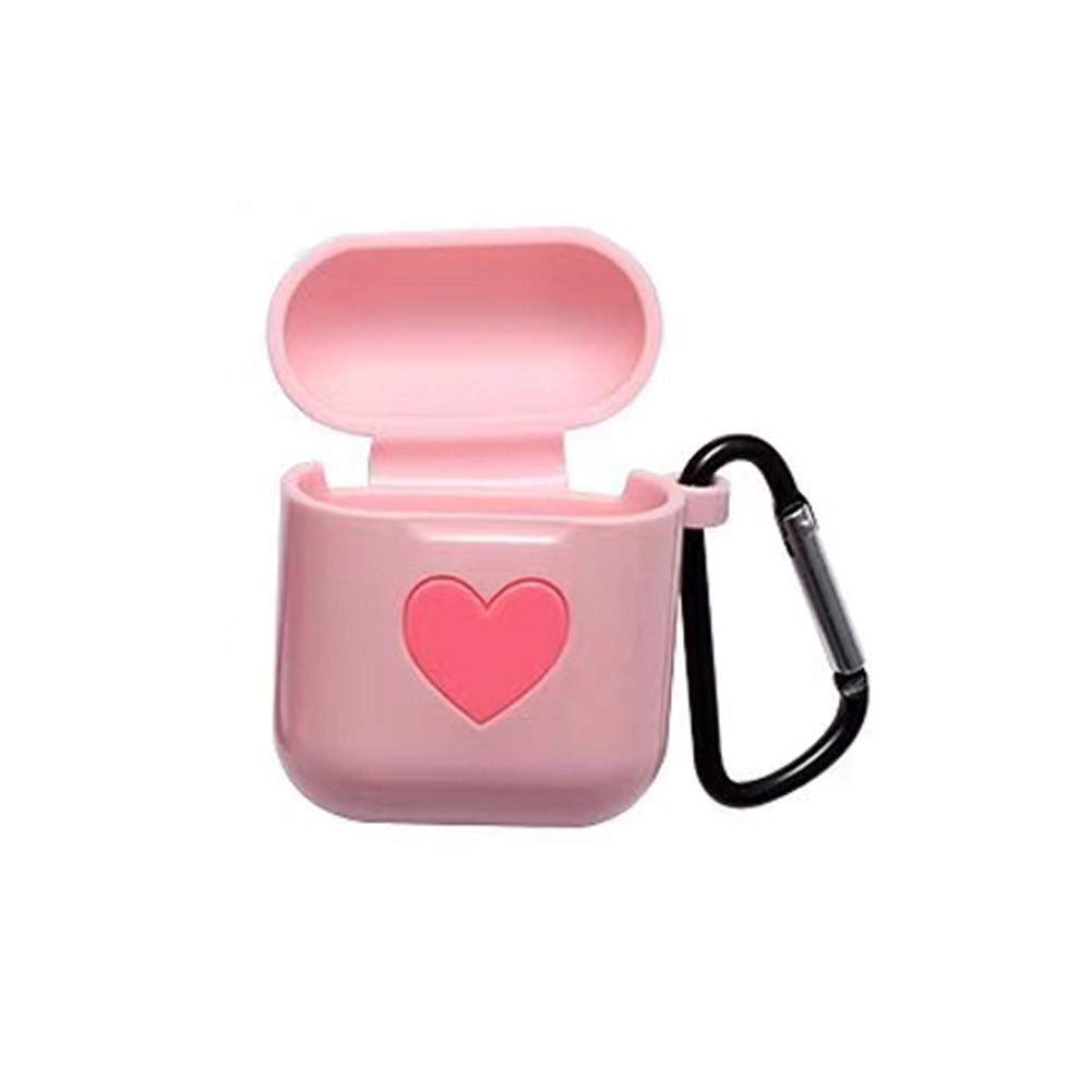 Sikye Premium Silicone Case Full Protective Cover Skin for Airpods Case - Anti-Lost Carabiner, Heart Design,Velantine's Gift for Her (Pink)