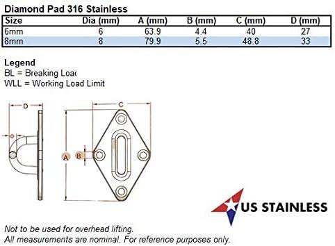 "or 1//4/"" 2.5/"" x 1.5/"" Marine 65mm x 40mm Stainless Steel 316 Diamond Pad 6mm"