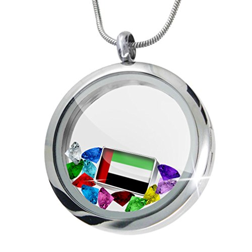 Floating Locket Set United Arab Emirates Flag + 12 Crystals + Charm, Neonblond