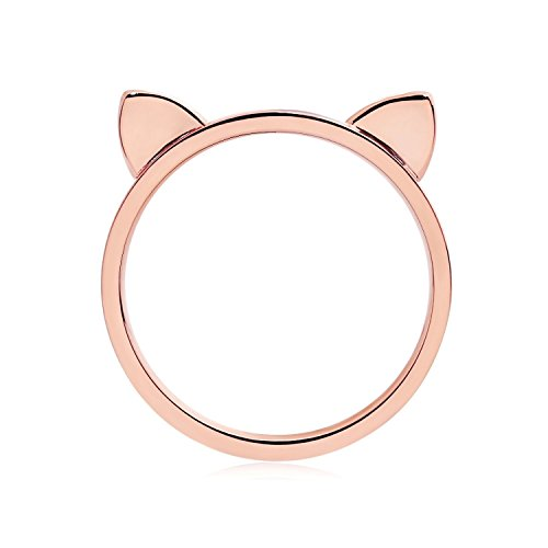 ELBLUVF 18k Rose Gold Plated Stainless Steel Cat Ears Shape Cat Ring For Womens Size (5)