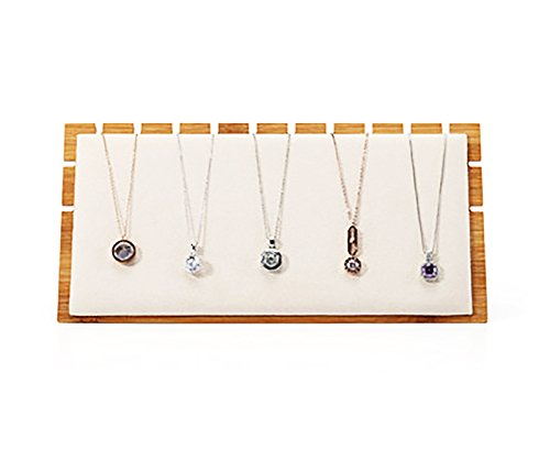 Bamboo Fine Jewelry Necklace Display Stands with Premium Grade Soft Beige Velvet for Photo Shooting Stores Trade Shows Exhibition (Necklace - Scratched Plastic Clean How To