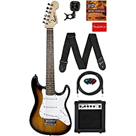 Fender Squier 3/4 Size Kids Mini Strat Electric Guitar Learn-to-Play Bundle w/ Amp, Cable, Tuner, Strap, Picks, Fender…
