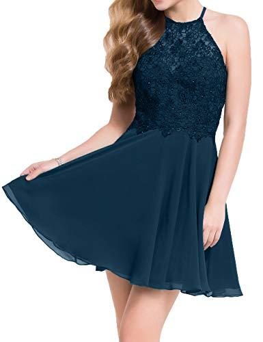 Blau Tanzenkleider Dunkel Charmant Spitze Mini Cocktailkleider Abendkleider Damen Partykleider Kurzes Festlichkleider xvn6wOqax