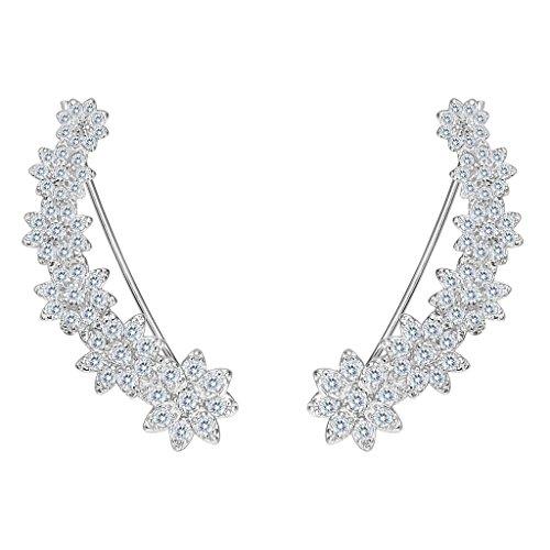 EleQueen 925 Sterling Silver Clear Cubic Zirconia Flower Winter Snowflake Ear Crawlers Sweep Cuff Bridal Hook Earrings 1 Pair