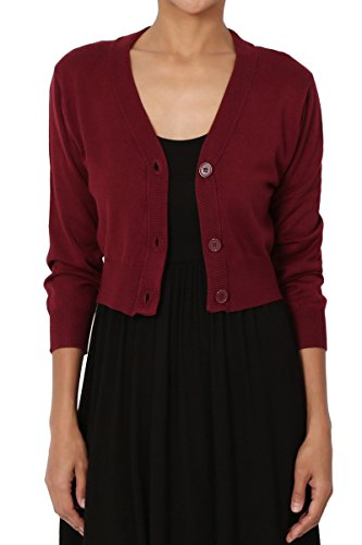 TheMogan Women's 3/4 Sleeve Button V-Neck Knit Sweater Crop Cardigan Burgundy M - Burgundy Cardigan Sweater