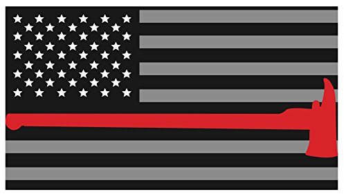 Thin Red Line Axe Flags Subdued 3M Vinyl Reflective Decal, Black, Gray & Red American Flag Sticker Honoring the Courage of Our Firefighters, EMT & (Helmet Axe)