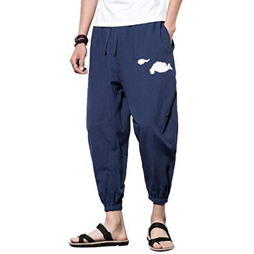 Aladdin Allentati Capri Estivi Bloomers Tasche Moda Da Con In Hellgrau Ricamo Alla Jogging Pantaloni stile Uomo Cinese OgpUgqdw
