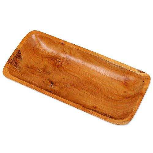 NOVICA Brown Hand Carved Teak Wood Tray, Arbor Gift' by NOVICA