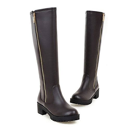 Knee Low Womens Side Long toe Heels Round Brown Square Zipper High AIWEIYi Boots 6gwqFzSg