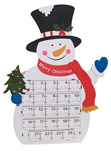 Clever Creations Tall Snowman Advent Calendar 24 Day Countdown to Christmas Calendar | Premium Christmas Decor | Painted Snowman with Merry Christmas Scarf | 100% Wood Construction | 18.75