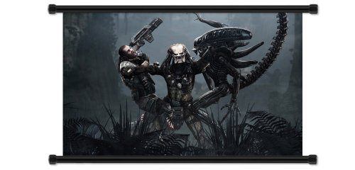 "Alien vs Predator Video Game Fabric Wall Scroll Poster (32"" x 20"") Inches"