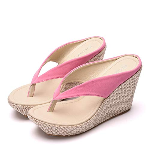 Crystal Queen Women Beach Sandals Platform Wedges Sandals High Heels Wedges Slippers Flip Flops White Flip Flops Plus Size (37 M EU / 7 B(M) US, Pink)