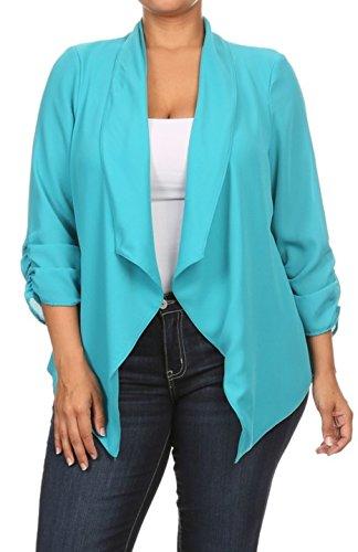 2LUV Plus Women's Open Front Gathered Sleeve Plus Size Blazer – X-Large, Turquoise