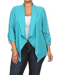 2LUV Plus Women's Polka Dot 3/4 Sleeve Open Front Blazer Jacket