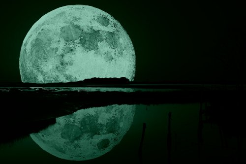 Startonight Canvas Wall Art Full Moon Water Reflection
