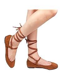 Women's Ankle Ribbon Lace Up Square Toe Faux Suede Ballet Flats