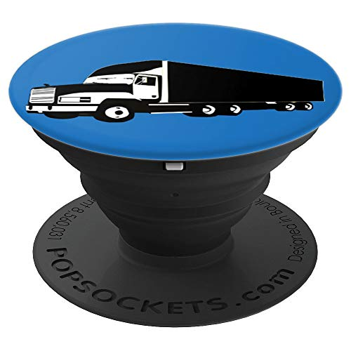 Stocking Stuffer Gift for Truck Drivers Blue Big Rig Present - PopSockets Grip and Stand for Phones and Tablets (Rig Blue)