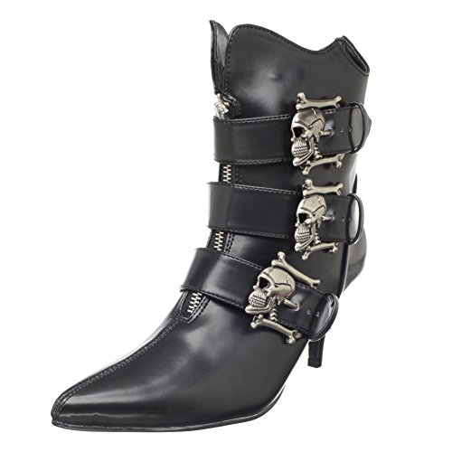 Boots Buckle Skull (Skull Buckle Ankle Boot GOTH Style Sexy Boots Size:)