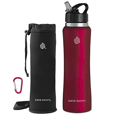 SWIG SAVVY Stainless Steel Water Bottle - with Straw Cap, Vacuum Insulated Double Wall & Wide Mouth Design - Reusable Sports Drinking Container with Carrying Sleeve Pouch (Red, 32 oz)