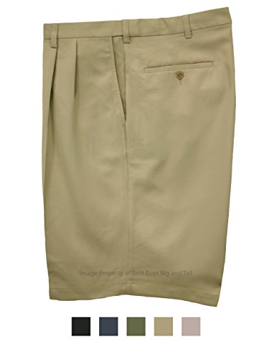 Haggar Big & Tall Men's Pleated Casual Shorts Expandable Waist Khaki Size 50#898B by Haggar